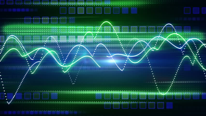 blue green curves and squares tech background loop