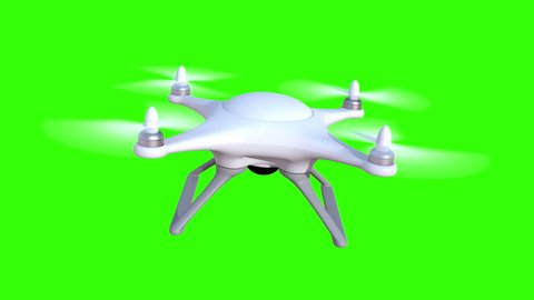 Quadcopter on a green background, seamless looping 3d animation, 4K