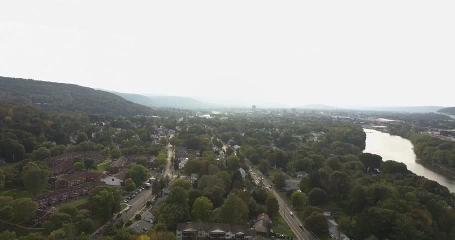 Descending aerial of Binghamton new york   Shutterstock HD Video #34933054