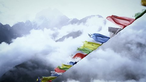 Prayer Flags on Himalayan Mountain Sky, Everest Base Camp Trek From Namche Bazaar to Tengboche , Nepal