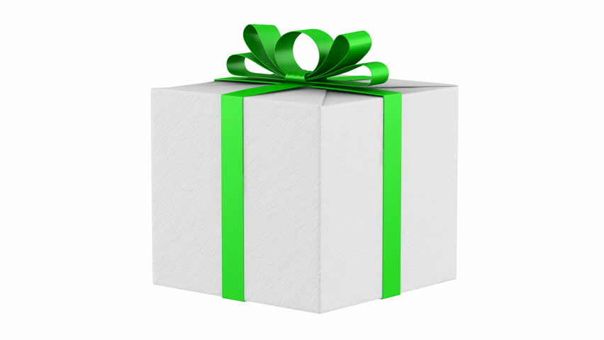 Three white gift boxes with green ribbon and bow loop rotate on gift box with green ribbon and bow loop rotate on white background hd stock footage negle Images