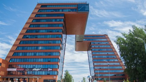 """Novosibirsk/Russia - August 22 2017: Coworking center """"Boiling point"""" in the Technopark.  Academic City in Novosibirsk. Educational and scientific centre of Siberia."""