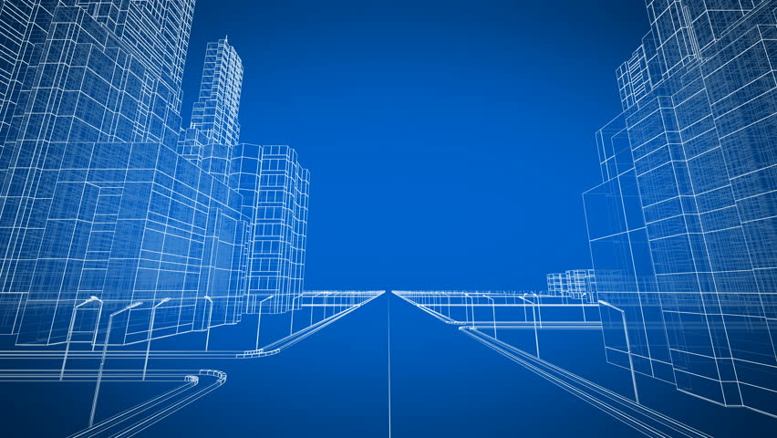 Moving through the modern city digital 3d blueprint construction moving through the growing modern city digital 3d blueprint construction and technology concept blue malvernweather Choice Image