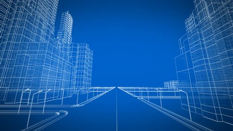 Moving Through the Growing Modern City Digital 3d Blueprint. Construction and Technology Concept. Blue color 3d animation. 4k UHD 3840x2160.