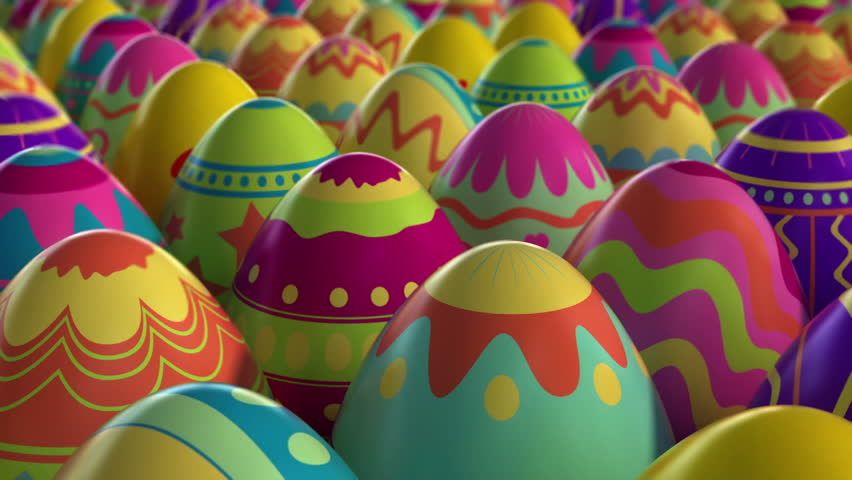 Colorful background with Easter eggs. High quality 3d animation, looped.