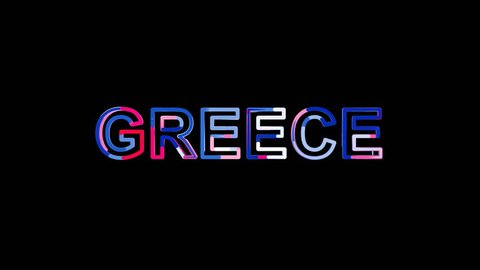 Letters are collected in country name GREECE, then scattered into strips. Bright colors. Alpha channel Premultiplied - Matted with color black