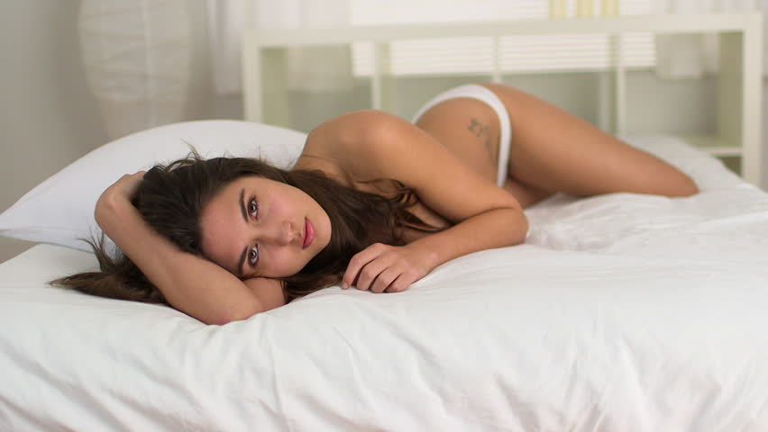 Young Topless Caucasian Woman Lying Stock Footage Video -6118