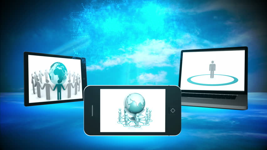 Various multimedia devices displaying business community imagery