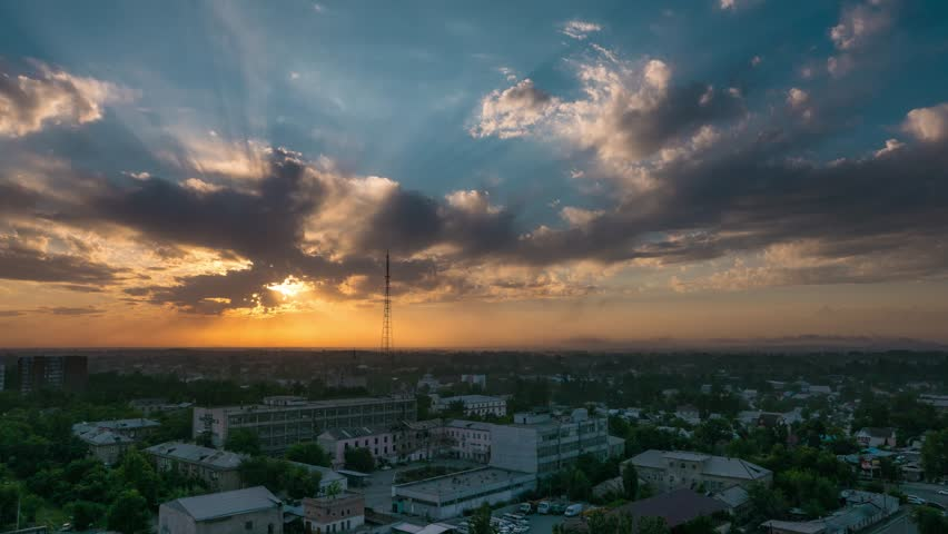 Kyrgyzstan Bishkek city sunset time lapse
