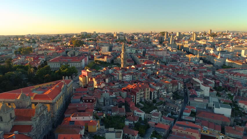 Portugal Porto City centre aerial view Sunset Summer time 4k Clerigos tower in the distance #35051611