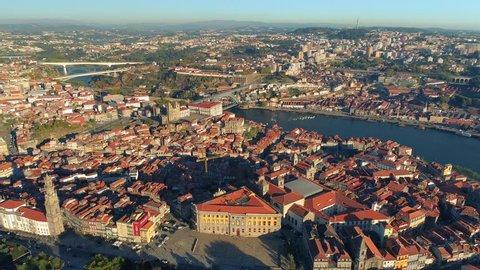 Portugal Porto aerial view Main citysights Vila Nova de Gaia and Porto Douro river