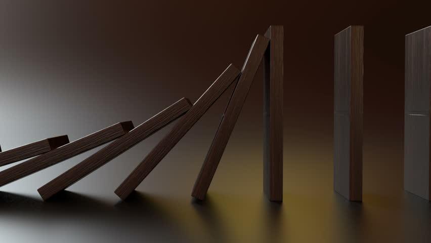 Domino falling loop, side view closeup