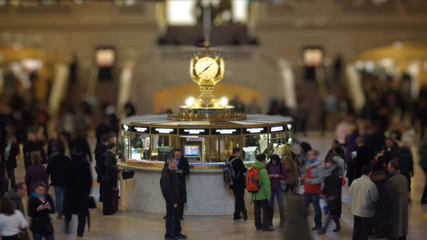 NEW YORK - MARCH 23: (Time lapse) People wait and meet under the clock in the Main Concourse of Grand Central Terminal on March 23, 2011 in New York, NY. Tilt-shift effect.