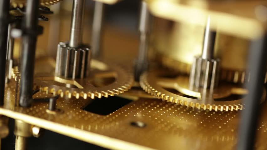 Rotating gears mechanical watches. Pendulum clock.