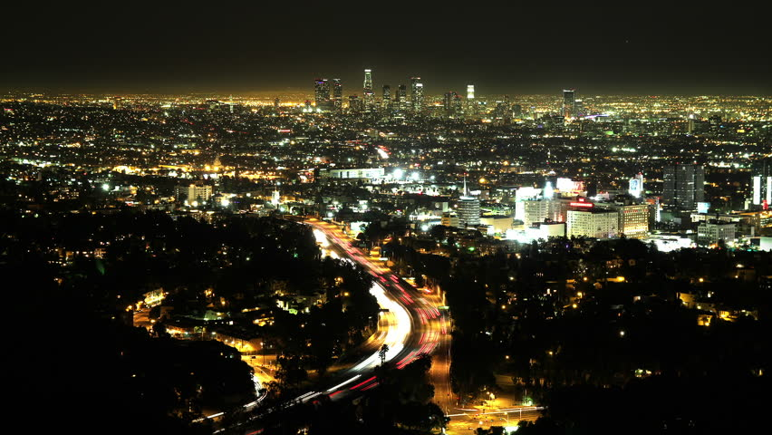 Astonishing Time Lapse of Los Angeles at Night with Hollywood in the Foreground and Downtown in the Distance