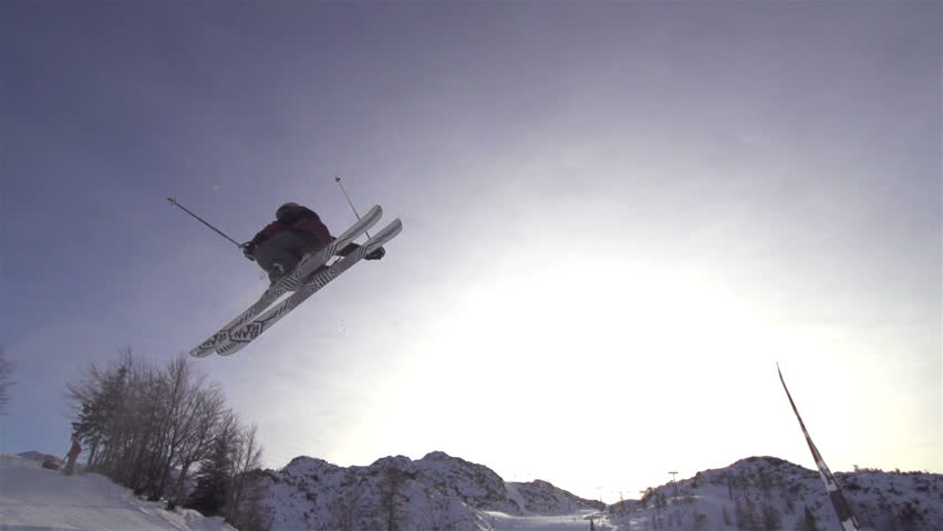 SLOW MOTION: freestyle skier jumping | Shutterstock Video #3586475