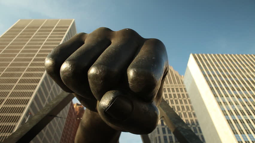 The Fist Detroit Joe Louis Art Boxing Fight Butterfly Sting Bee Statue Fist Bump Black Pride African American Motor City