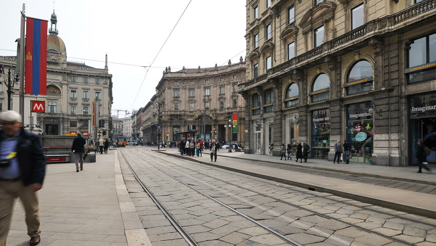 MILAN - MARCH 23: (Timelapse View) Tramway in center of the city on March 23, 2013 in Milan, Italy. The Milan tramway network operates since 1881, the network is presently about 115 km (71 mi) long.