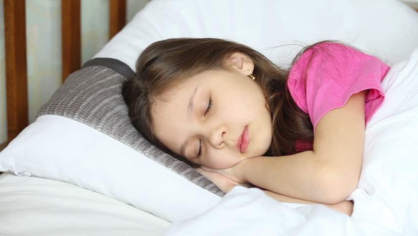 Sleeping Child, Sleeping Little Girl Sucking Thumb, Habits -7951