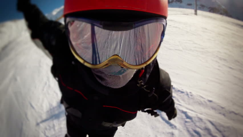 subjective view of the face of the skier