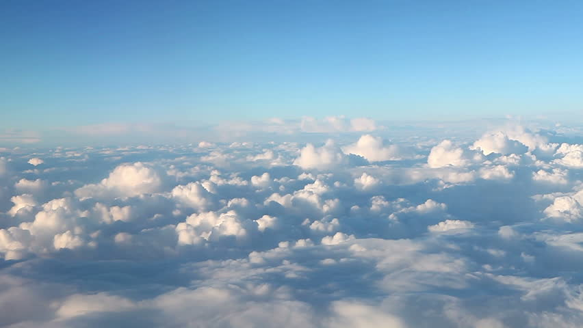 View of clouds through airplane window - Full high definition video - 1920X1080