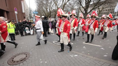 DUSSELDORF, GERMANY – FEBRUARY 11: People celebrate Rosenmontag Karneval or Carnival. February 11, 2013,  Düsseldorf, Germany