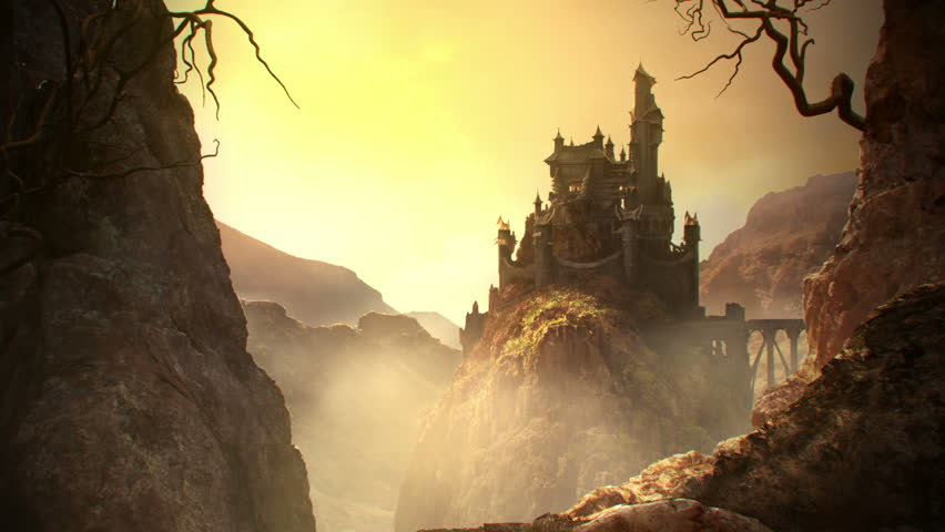 This animation shows a long shot of fantasy castle standing on the hill.