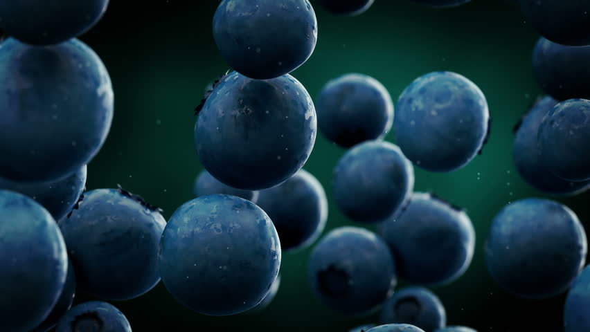 Blueberries with water droplets falling down in front of blurry background. Slow motion CG animation.