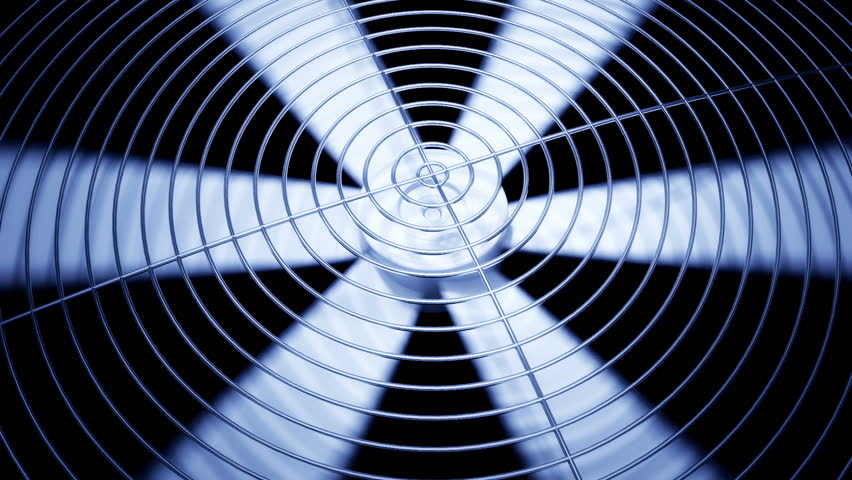 Spinning fan closeup animation can represent air conditioning, ventilation.