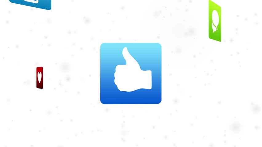Social Media Icons flying space on white background