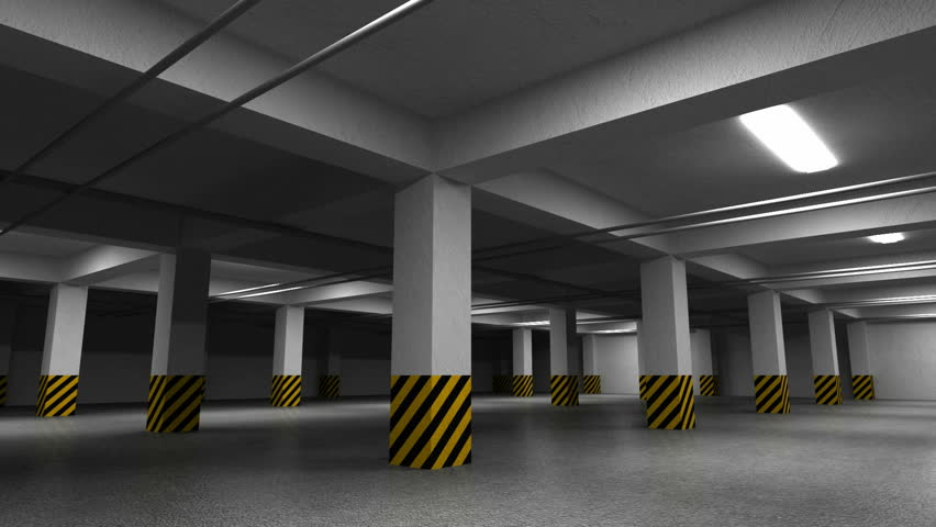 Empty dark underground parking interior. 3d animation with camera rotation