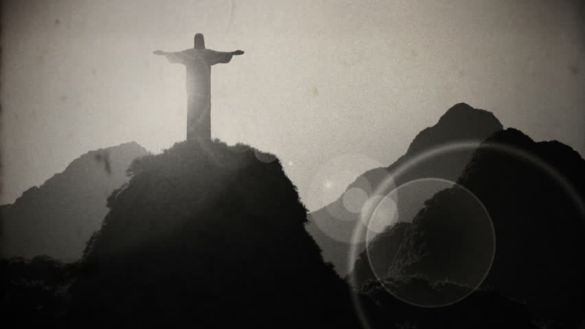 Corcovado Sunset Aerial 4 vintage 3D animation