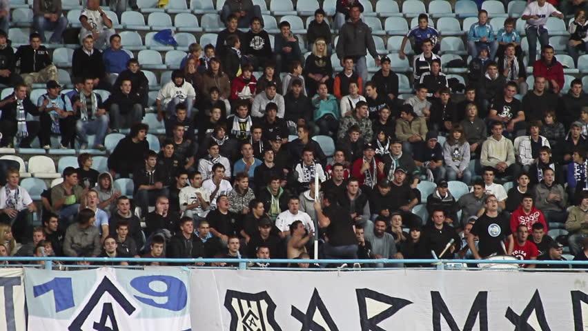 RIJEKA, CROATIA - APRIL 26: Spectators at soccer match NK Rijeka vs. NK Sibenik (1st Croatian Football League) on April 26, 2011 in Rijeka