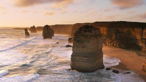 the iconic twelve apostles near melbourne, australia at sunset