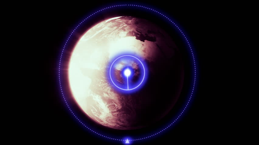 HUD target on the planet Earth, Heads Up Display motion graphic with the Planet Earth in the sights.