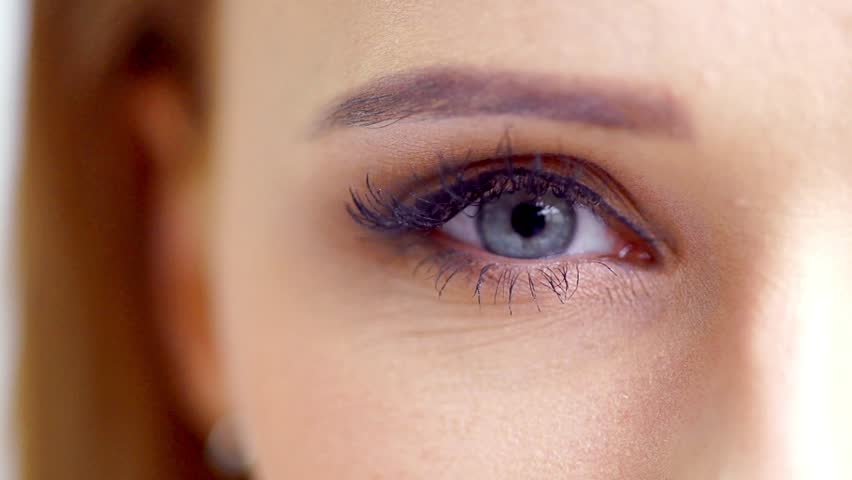 Zoom Shoot of an Eye of Beautiful Girl in Slow Motion
