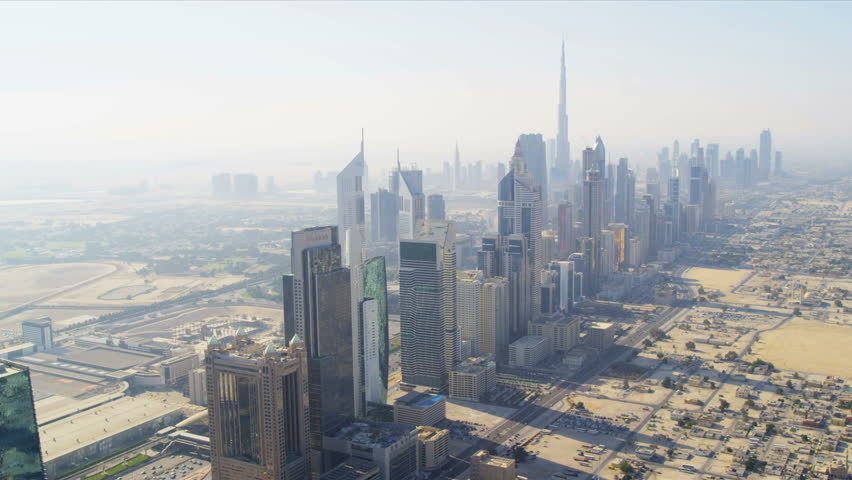 Aerial view city skyscrapers and Metro station on Sheikh Zayed Road downtown Dubai, UAE, RED EPIC