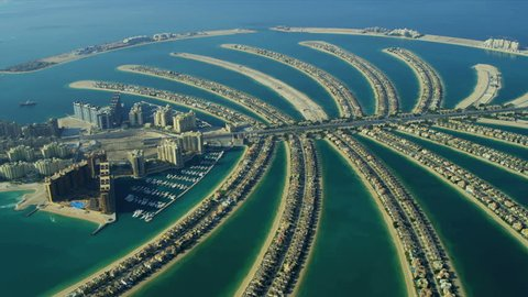 Aerial view of Luxury Shopping Centre, Golden Mile, Palm Jumeirah, Dubai, UAE, RED EPIC