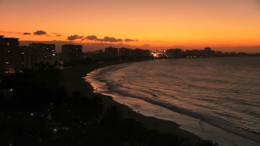 Golden Sunrise Timelapse over Beautiful Sand Beach in Puerto Rico. Can also be reversed for Sunset.