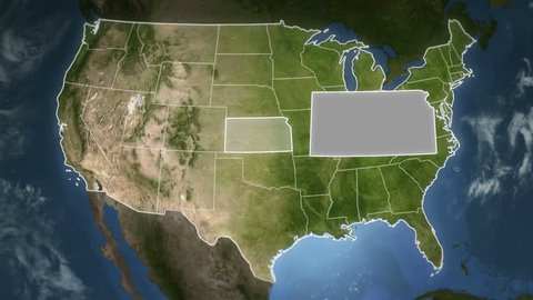 Spinning Earth with United State states maps. Loopable. Each state border freeze a few seconds to let you edit and change the order or duration. Elements of this video furnished by NASA.