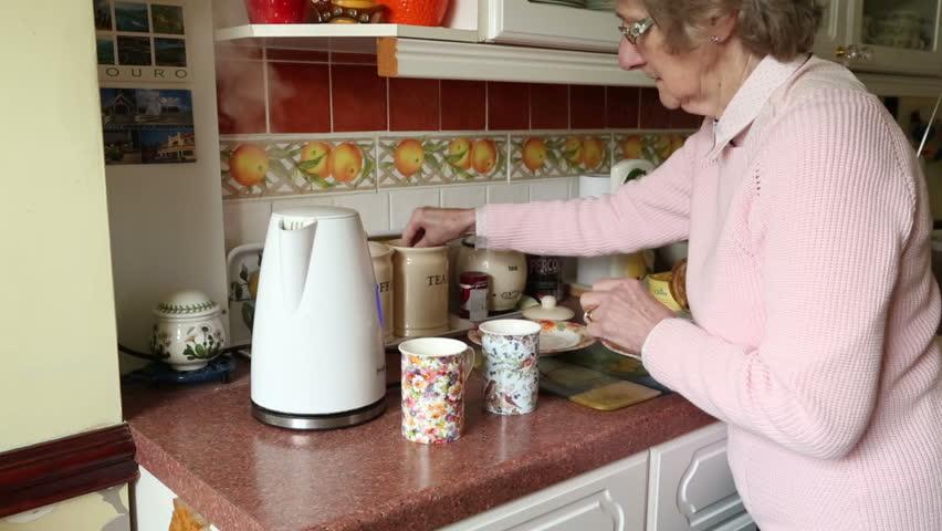 Great Elderly Woman Making Tea In The Kitchen Stock Footage Video 3764891 |  Shutterstock