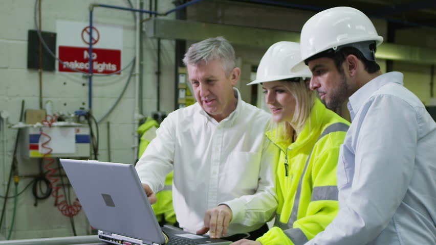 Male and female warehouse workers are looking at a laptop computer and discussing the logistics of their business.