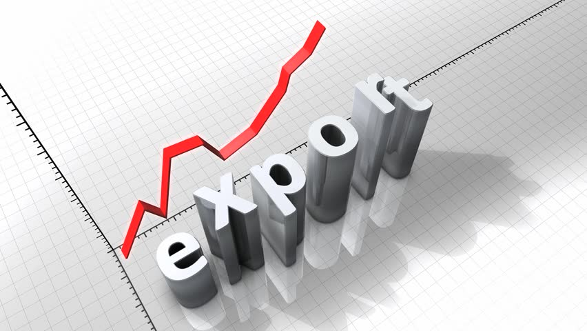 Growing chart graphic animation, rising Export.