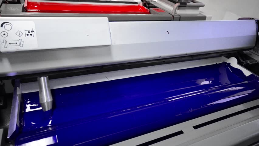 Cyan, Blue, Magenda, Red on the offset  press machine