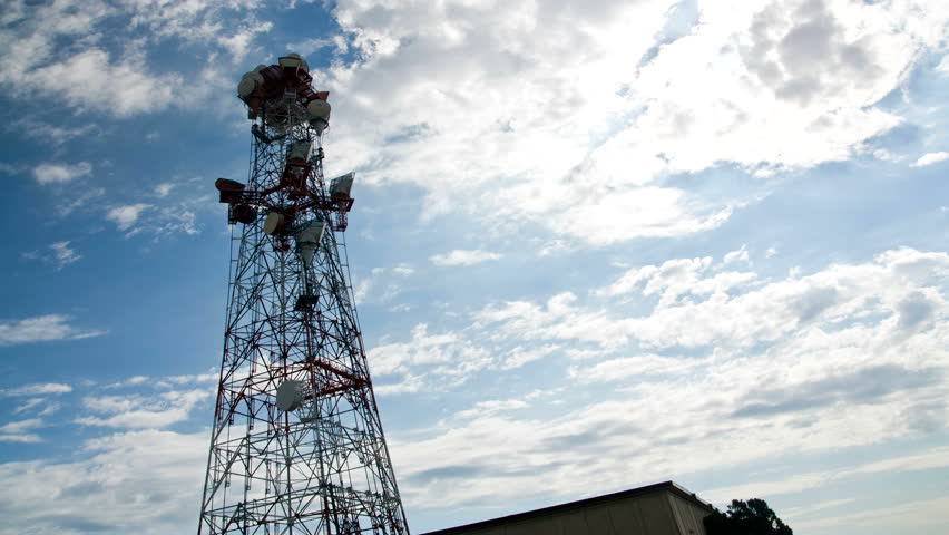Cellphone telecommunication tower time lapse 1080p