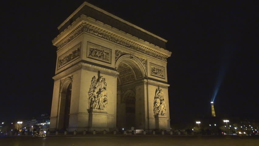 PARIS, FRANCE - DECEMBER 25, 2011, Traffic car and The Arc de Triomphe in Paris by night | Shutterstock HD Video #3819059