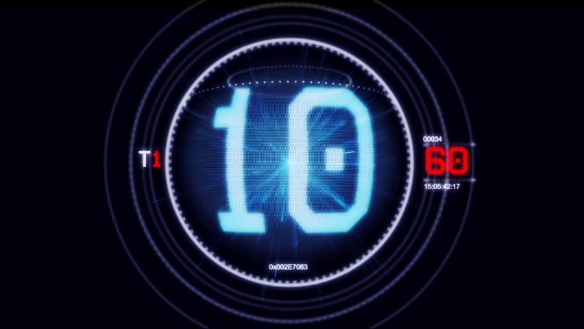 Hologram timer coundown blue and red