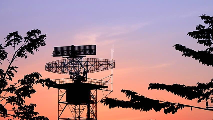 silhouette radar tower communication and plane