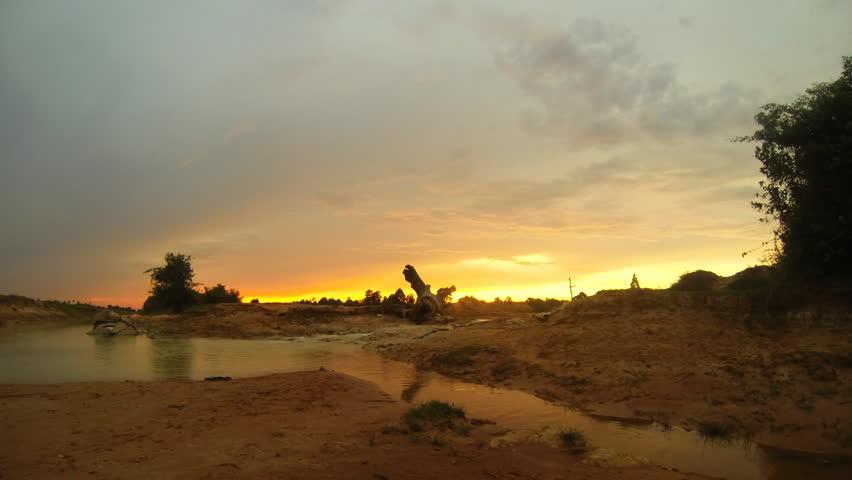 Timelapse of golden sunset in west baray close to Siem reap Cambodia