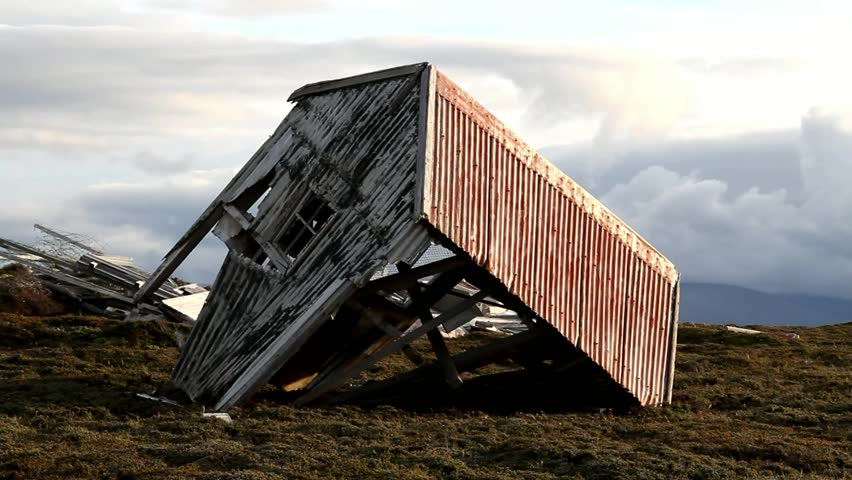 Old collapsed hut, Falkland Island